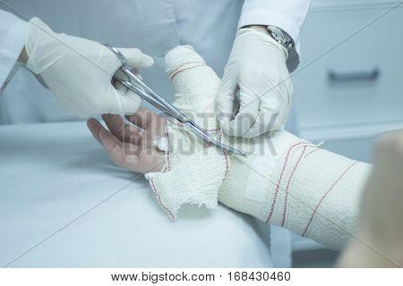 Doctor Patient Plaster Cast