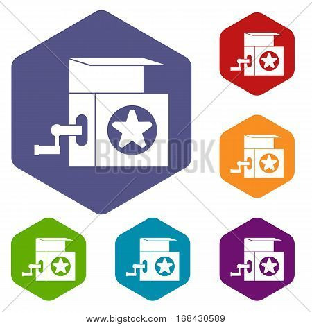 Music box icons set rhombus in different colors isolated on white background