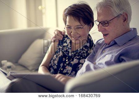 Senior Couple Look Photo Album