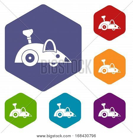 Clockwork mouse icons set rhombus in different colors isolated on white background