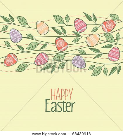 Vector Easter decoration with branches and leaves, Easter eggs