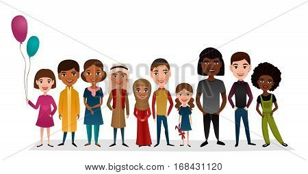 Group of smiling children different nationalities isolated vector illustration. Little boy and girl in national dress cartoon characters. Happy international multicultural kids standing together