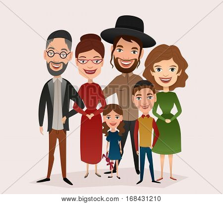 Big happy jewish family isolated vector illustration. Mother, father, grandparents, children, son, daughter characters. Family generations standing together, senior couple with grandchildren. Jewish family characters. Funny family of jewish people.