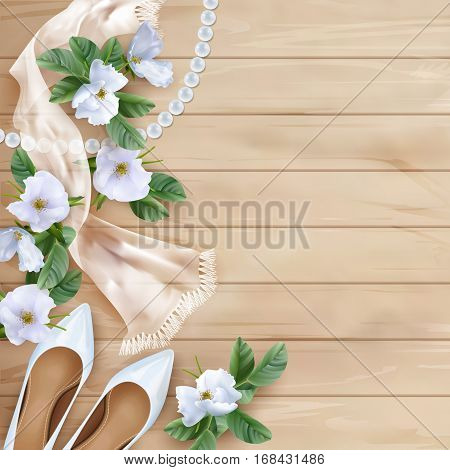 Wedding floral top view background with white flowers, shoes, silk scarf, pearl beads on a wooden table