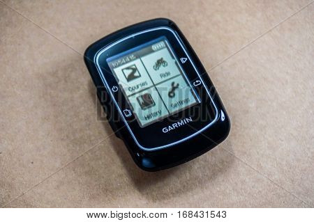Labuan,Malaysia-Feb 3,2016:Photo of Garmin Edge 200 cycling computer blends the convenient GPS calibration.Its displays a range of basic ride data on a clear screen.