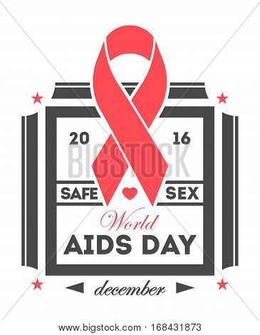 World aids day label isolated vector illustration. Stop aids hiv symbol. Red ribbon logo on white background. 1 december world aids day. Aids day emblem with red ribbon. Aids day logo concept.