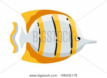 Coral reef tropical fish vector illustration. Vector sea fish isolated on white background. Aquarium fish icon. Tropical fish logo or fish sign. Cartoon fish characters. Funny fish. Vector fish isolated