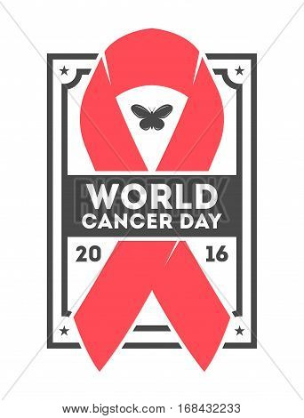 World cancer day label isolated vector illustration. Red ribbon logo on white background. 4 february world cancer day icon