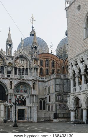 View of San Marco Basilica and Doge's Palace in San Marco Square Venice Veneto Italy Europe