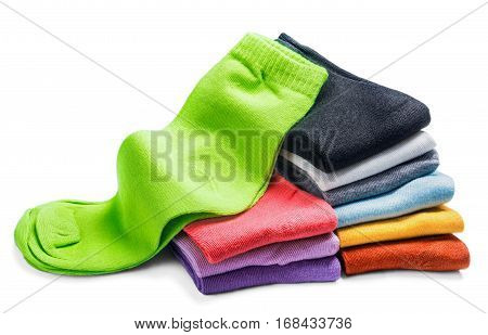 different color socks isolated on white background