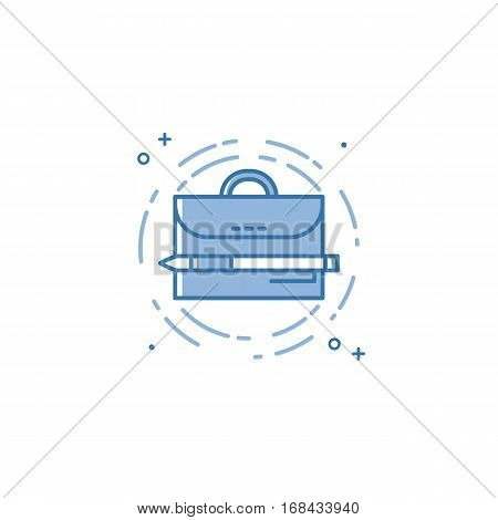 Vector illustration of flat bold line suitcase and pen icon. Graphic design concept of portfolio. Use in Web Project and Applications. Blue outline isolated object.