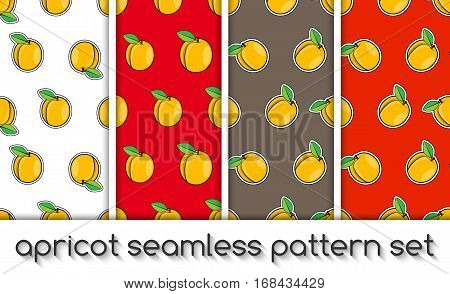 Set Of Patterns With Apricots, Seamless Texture, Wallpaper
