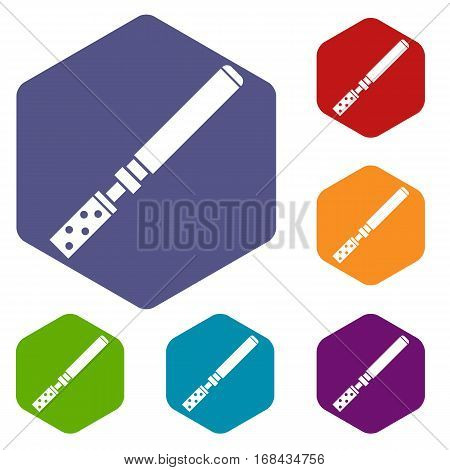 Electronic cigarette with cartridges icons set rhombus in different colors isolated on white background