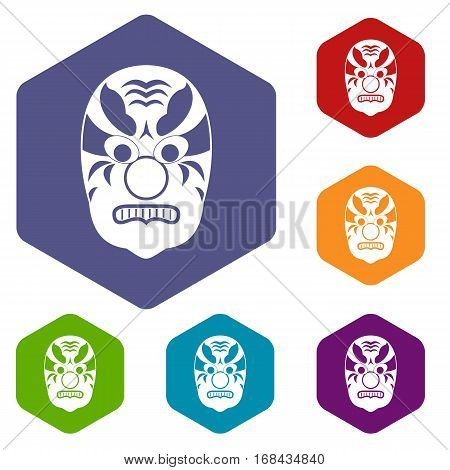 Tribal mask icons set rhombus in different colors isolated on white background