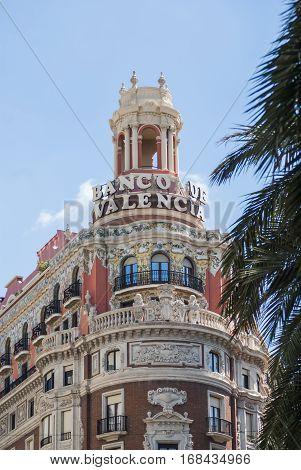 Valencia Spain may 2013: facade of the Bank of Valencia building