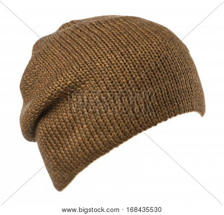 Hat Isolated On White Background .knitted Hat .hat Brown .