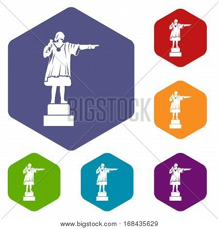 Columbus monument icons set rhombus in different colors isolated on white background