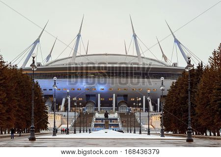 Saint-Petersburg Russia - 1 February 2017: The new stadium Zenith Arena where the World Cup will be held in 2018.