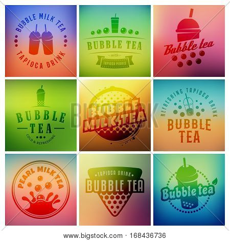 Vector bubble tea logos. Set of pearl tea labels on blurred colorful backgrounds. Popular asian drink badges