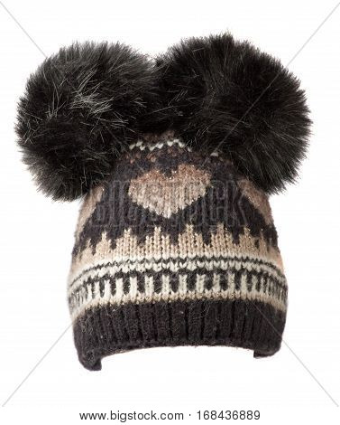 Women's Knitted Hat Isolated On White Background.hat With Pompon.black White  Hat .