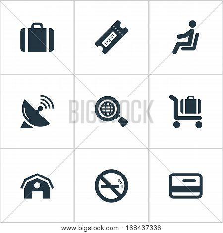 Set Of 9 Simple Travel Icons. Can Be Found Such Elements As Global Research, Baggage Cart, Handbag.