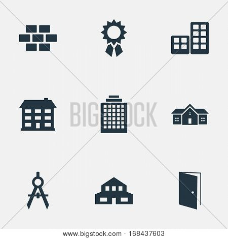 Set Of 9 Simple Construction Icons. Can Be Found Such Elements As Engineer Tool, Residence, School And Other.