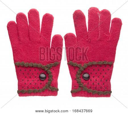 Knitted Gloves. Gloves Isolated On White Background. Gloves A Top View.pink Gloves .