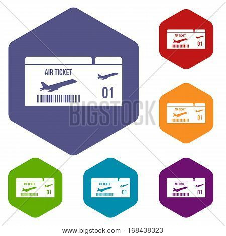 Airline boarding pass icons set rhombus in different colors isolated on white background