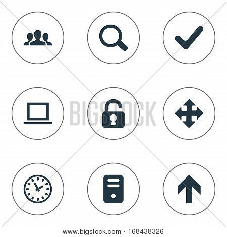 Set Of 9 Simple Practice Icons. Can Be Found Such Elements As Community, Upward Direction, Notebook And Other.