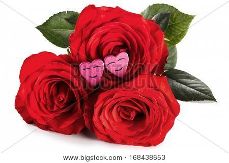 Roses and funny hearts isolated on white background, Valentines day