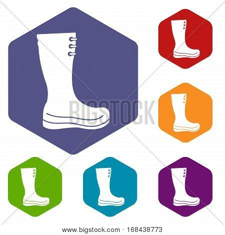 Rubber boots icons set rhombus in different colors isolated on white background