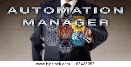 Recruiter in blue business suit pushing AUTOMATION MANAGER on an interactive control screen. Technical management concept for an engineering job in automation services in the oil and gas industry.