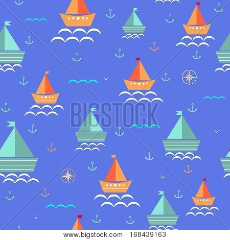 Colored boats anchored sailboat compass seamless kids pattern vector illustration