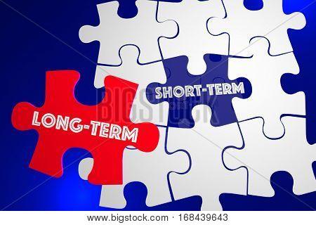Long Vs Short Term Better Best Solution Puzzle Piece 3d Illustration