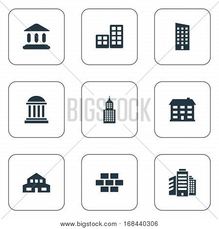 Set Of 9 Simple Construction Icons. Can Be Found Such Elements As Stone, Superstructure, Flat And Other.