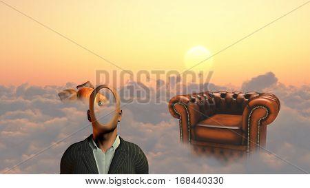 Faceless man above clouds. Golden fish and armchair. 3D Render