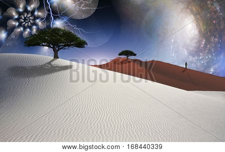 White desert. Green trees. Figure of man in a distance. Multi layered spaces. 3D Render