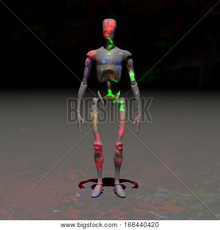 Robot with colorful lights. 3D render.