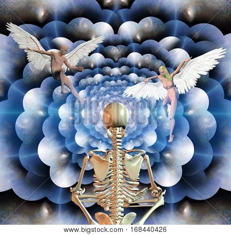 Skeleton in lotus position sits before endless spaces.Figures of man and woman with angel wings. 3D Render