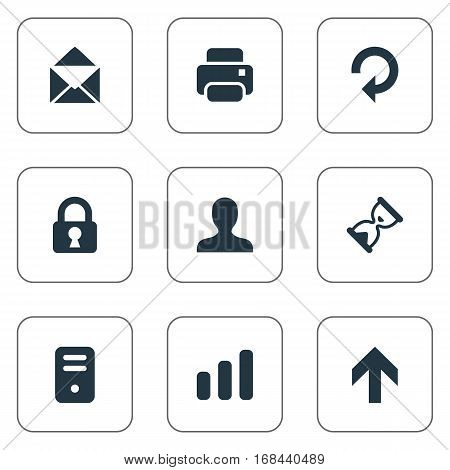 Set Of 9 Simple Apps Icons. Can Be Found Such Elements As Refresh, Printout, Sand Timer.