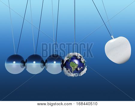 Newton pendulum. 3D Render