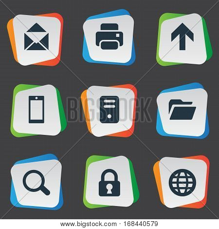 Set Of 9 Simple Apps Icons. Can Be Found Such Elements As Dossier, Web, Printout And Other.