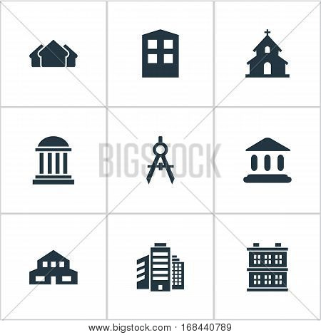 Set Of 9 Simple Architecture Icons. Can Be Found Such Elements As Popish, Residential, Construction And Other.