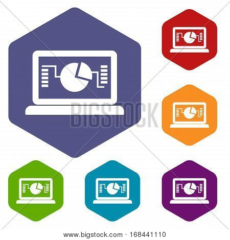 Laptop with business graph icons set rhombus in different colors isolated on white background