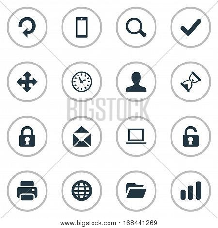 Set Of 16 Simple Practice Icons. Can Be Found Such Elements As Dossier, Printout, Statistics And Other.
