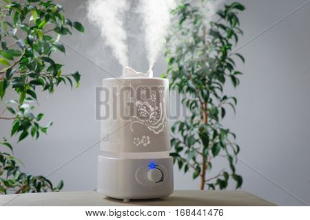 ultrasonic humidifier in the house. Humidification. Vapor poster