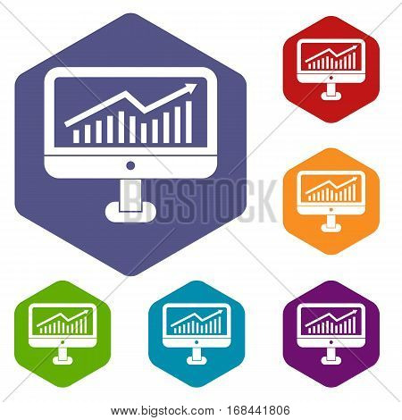 Growth graph on the computer monitor icons set rhombus in different colors isolated on white background