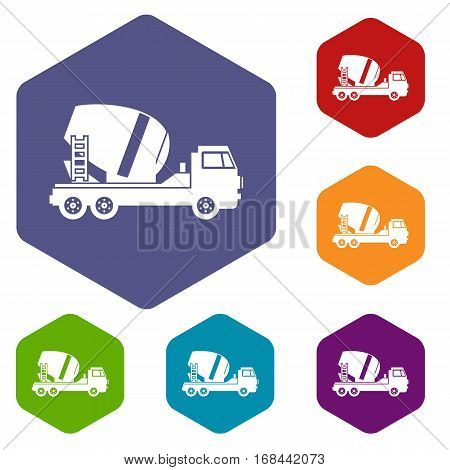 Concrete mixer truck icons set rhombus in different colors isolated on white background