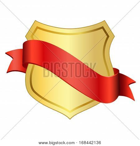 Gold Shield Emblem Ribbon Icon