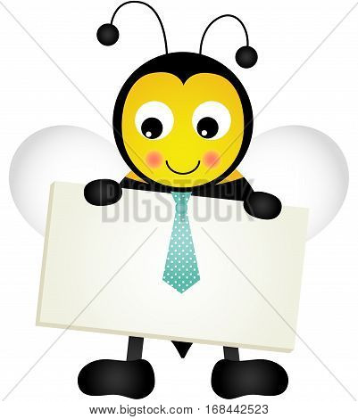 Scalable vectorial image representing a bee holding blank signboard, isolated on white.